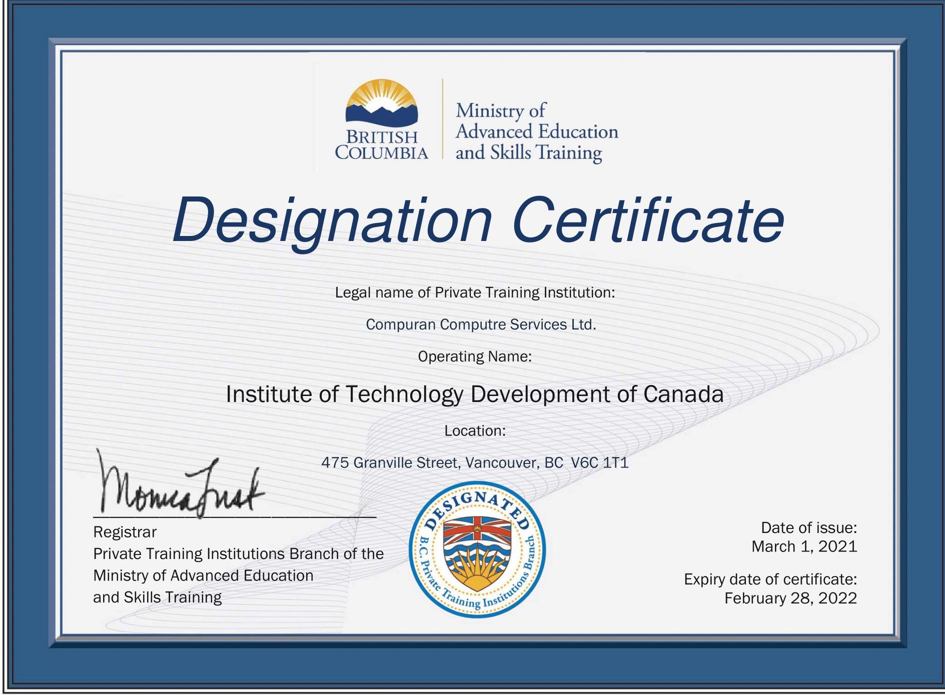institute of technology - In Canada - ITD Canada - Accreditation Certificate